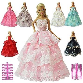 ZITA ELEMENT Vestidos Barbies 12 Piezas Vestidos Accesorios=6 Piezas Vestido de Novia Hecha a
