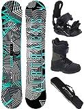 Airtracks Snowboard Komplett Set/Stripes Wide Snowboard Flat Rocker + Softbindung Star + Boots Star + SB Bag / 150 155 160 165 / cm