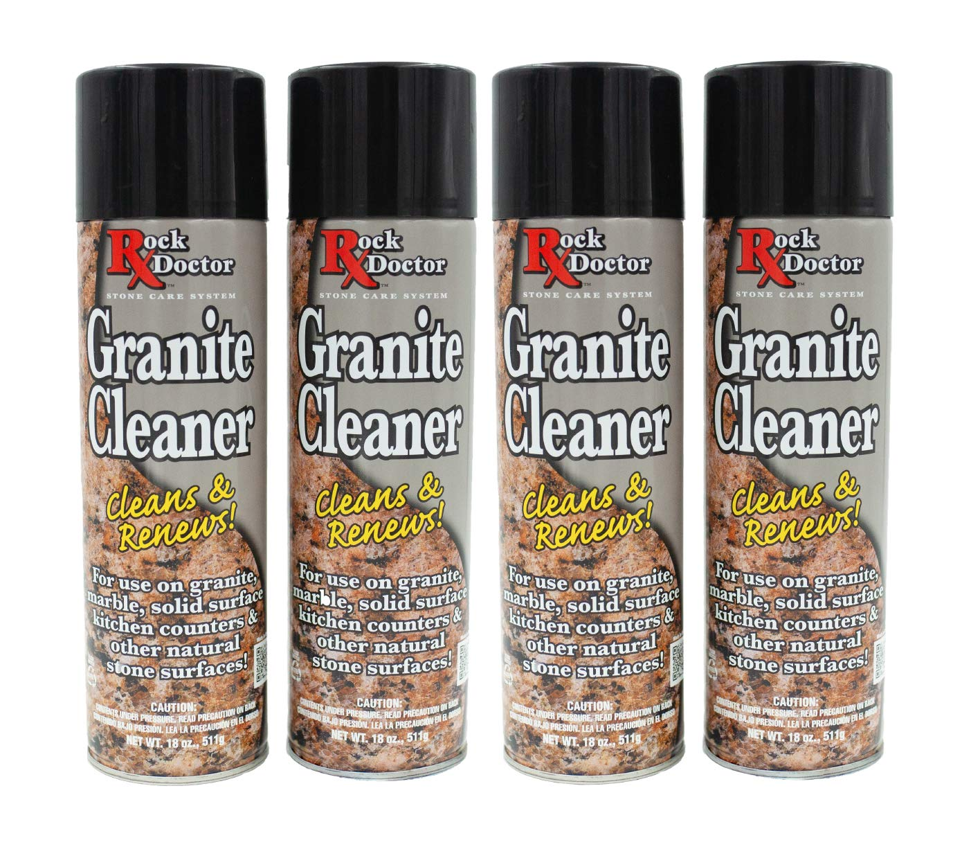 Rock Doctor Granite Cleaner - Cleans& Renews Surfaces - (18 oz) Surface Cleaner Spray, Granite/Marble Countertop Cleaner, Cleaning Spray for Vanity, Table Top, Kitchen Counters, Stone Surfaces (4Pack) by Rock Doctor