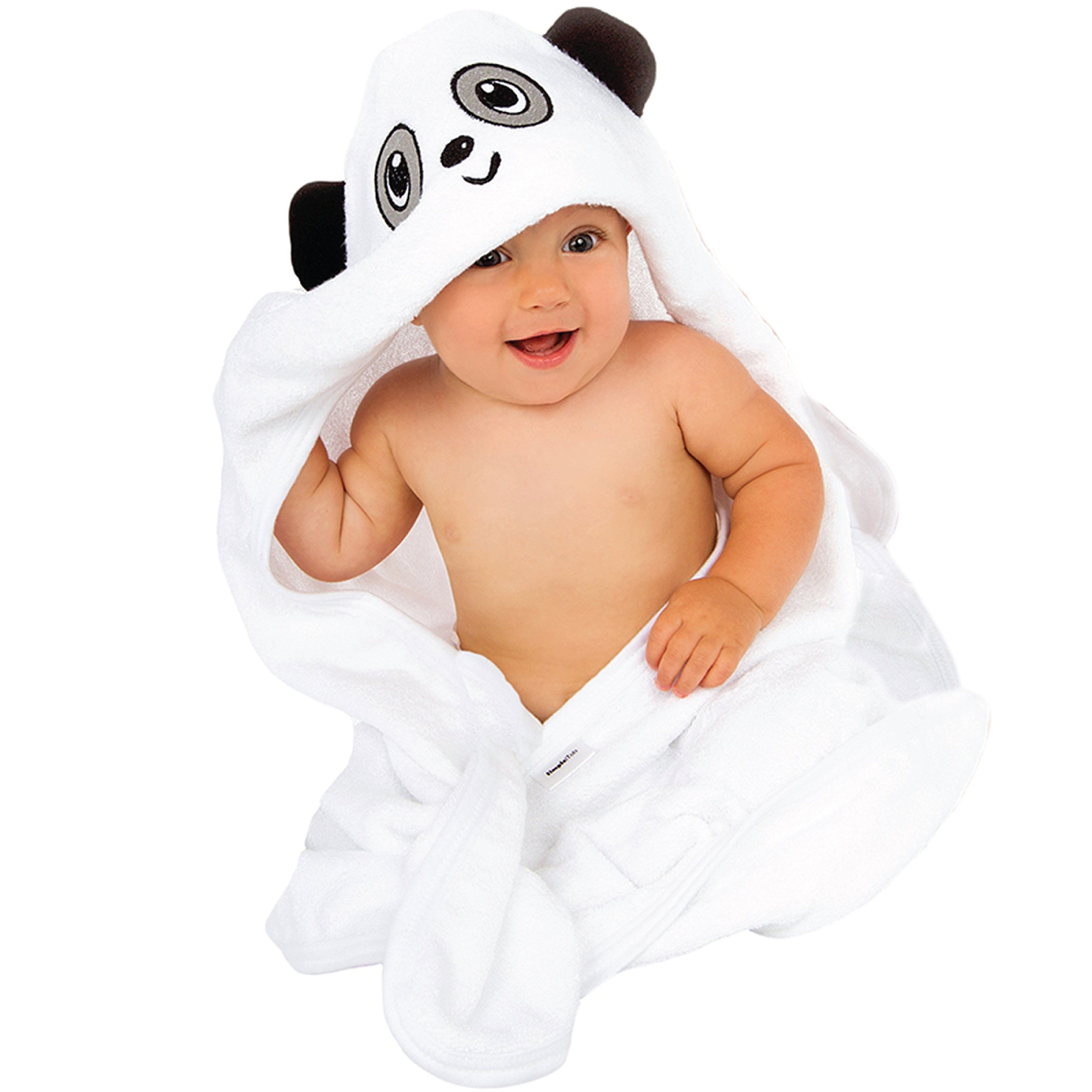 Panda Hooded Baby Towel | 100% Organic Bamboo | Cute Animal Design Great for Boys and Girls | Extra Soft and Thick for Infant, Toddler, Newborn and Kids use at Bath Time, Beach and Pool