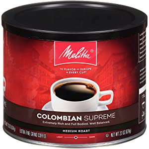 Melitta Colombian Supreme Coffee, Medium Roast, Extra Fine Grind, 22 Ounce Can (Pack of 6)