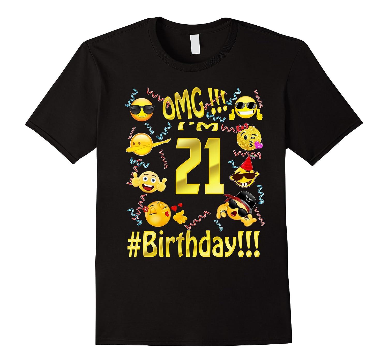 Emoji Birthday Shirt For 21 Twenty One Year Old Girl Boy Par