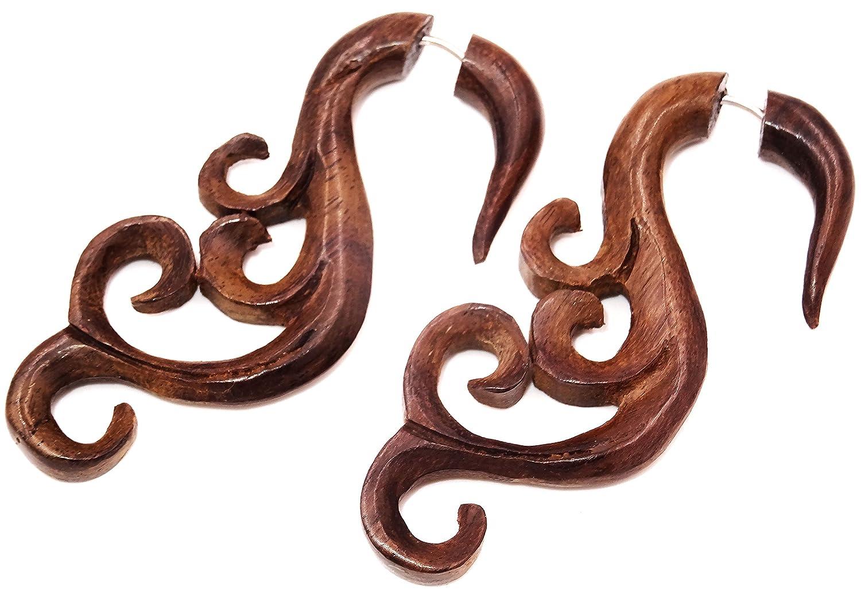 Falso Dilatador Pendientes Piercing madera par marrón hombre mujer ...
