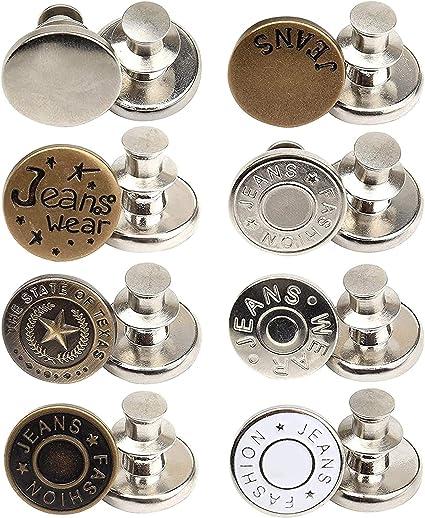 Instant Button 12 Juegos De Replacement Jean Buttons Botones De Reemplazo Jeans Camisas Botones De Jean De Repuesto Desmontables para Jeans Chaquetas
