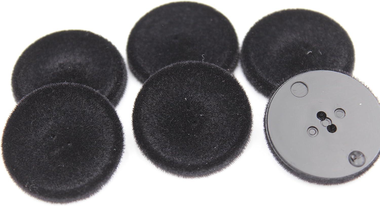 Hartmann-Kn/öpfe Lot de 6 Boutons en Plastique avec Surface Velours Noir 27 mm env