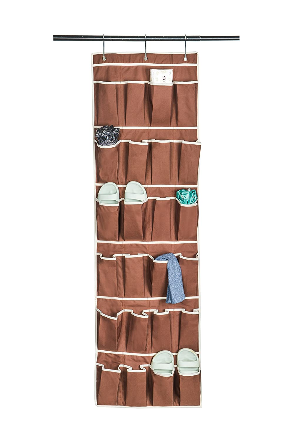 Amelitory Over The Door Shoe Organizer 20 Pockets Hanging Shoe Storage Fabric Beige US Houseware