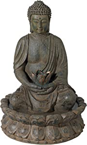"John Timberland Meditating Buddha Antique Bronze 18.5"" H LED Lighted Fountain"