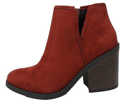 cf0fb7c35ed1 SODA Women s Faux Suede V Side Cut Stack Block Heel Ankle Boot (Dark Rust