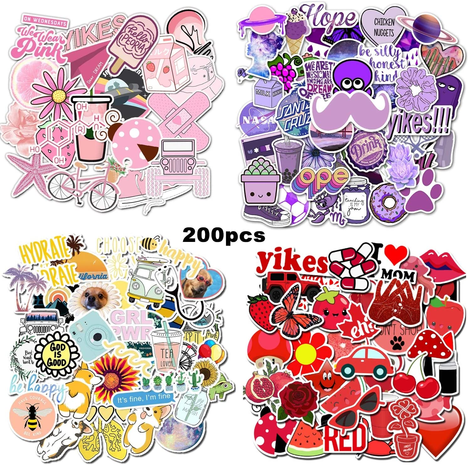 Water Bottles Stickers Waterproof Cute Graffiti Vinyl Stickers for Women Teens Girls Boys Adults, Laptop, Tablets, Skateboards, Mobile Phones, Kettles, Computer, Refrigerator, Notebook (200pcs)