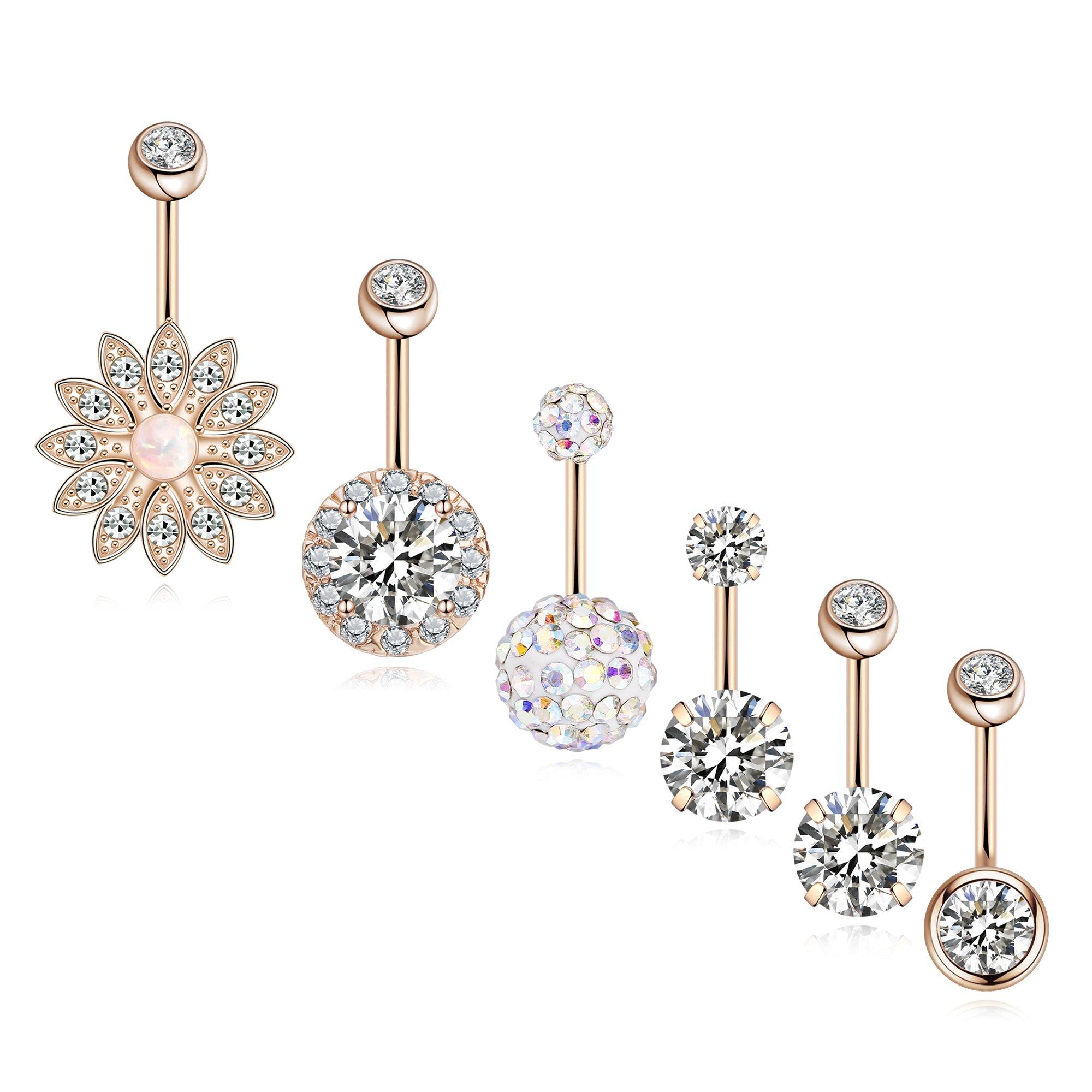 SEVENSTONE 6PCS Stainless Steel Belly Button Rings for Girls Women Screw Navel Piercing Bars Body Jewelry