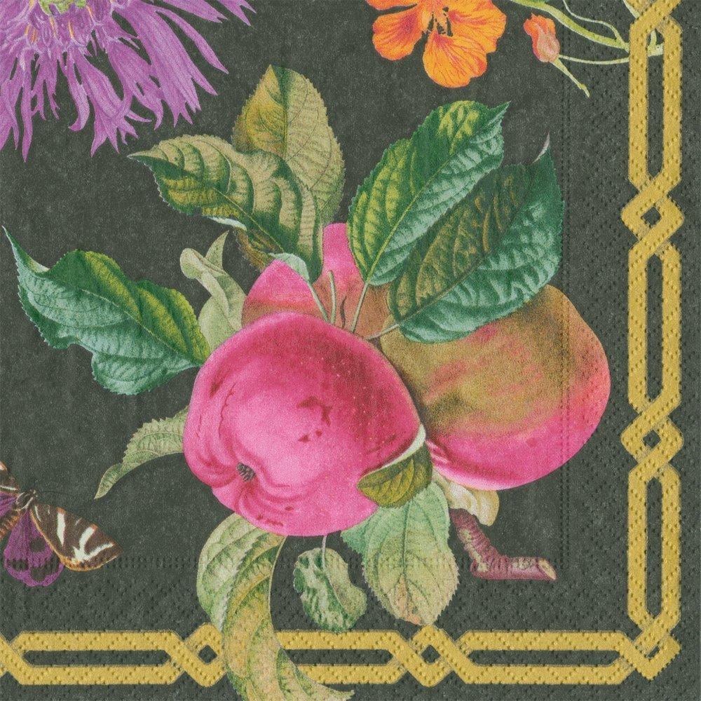 Caspari Entertaining with Decoupage Garden Dinner Paper Napkin, Pack of 20, Black, 3 x 0.45 x 25.4 cm 13571D