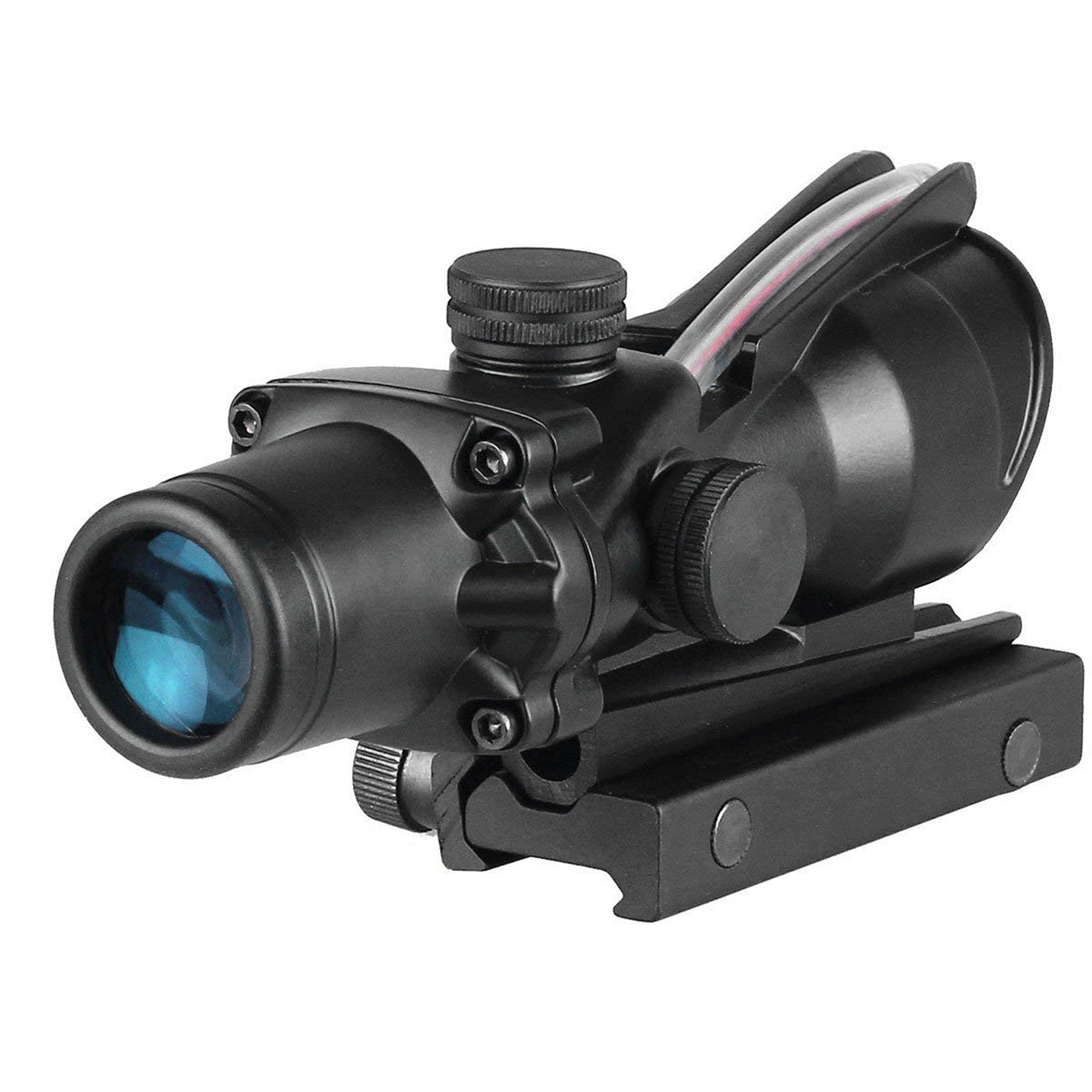 CRUSHUNT Acog 4x32 Red Fiber Scope Dual Illuminated Dot .223 Ballistic Reticle Rifle Scope