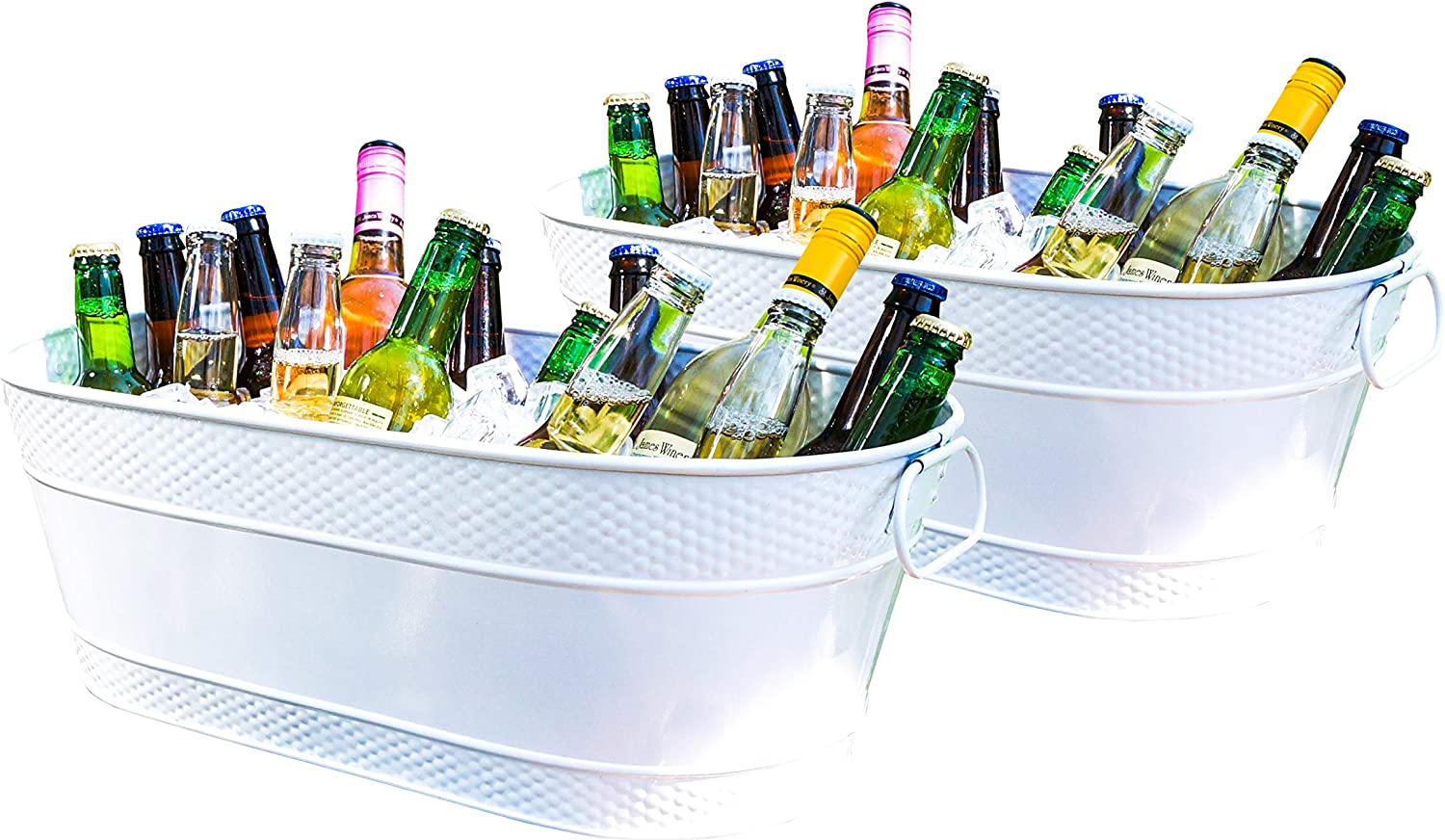 BREKX Colt White Hammered Galvanized Beverage Tubs, Rust-Resistant and Leak-Proof Ice and Drink Bucket with Handles, 15 Quarts, Set of 2