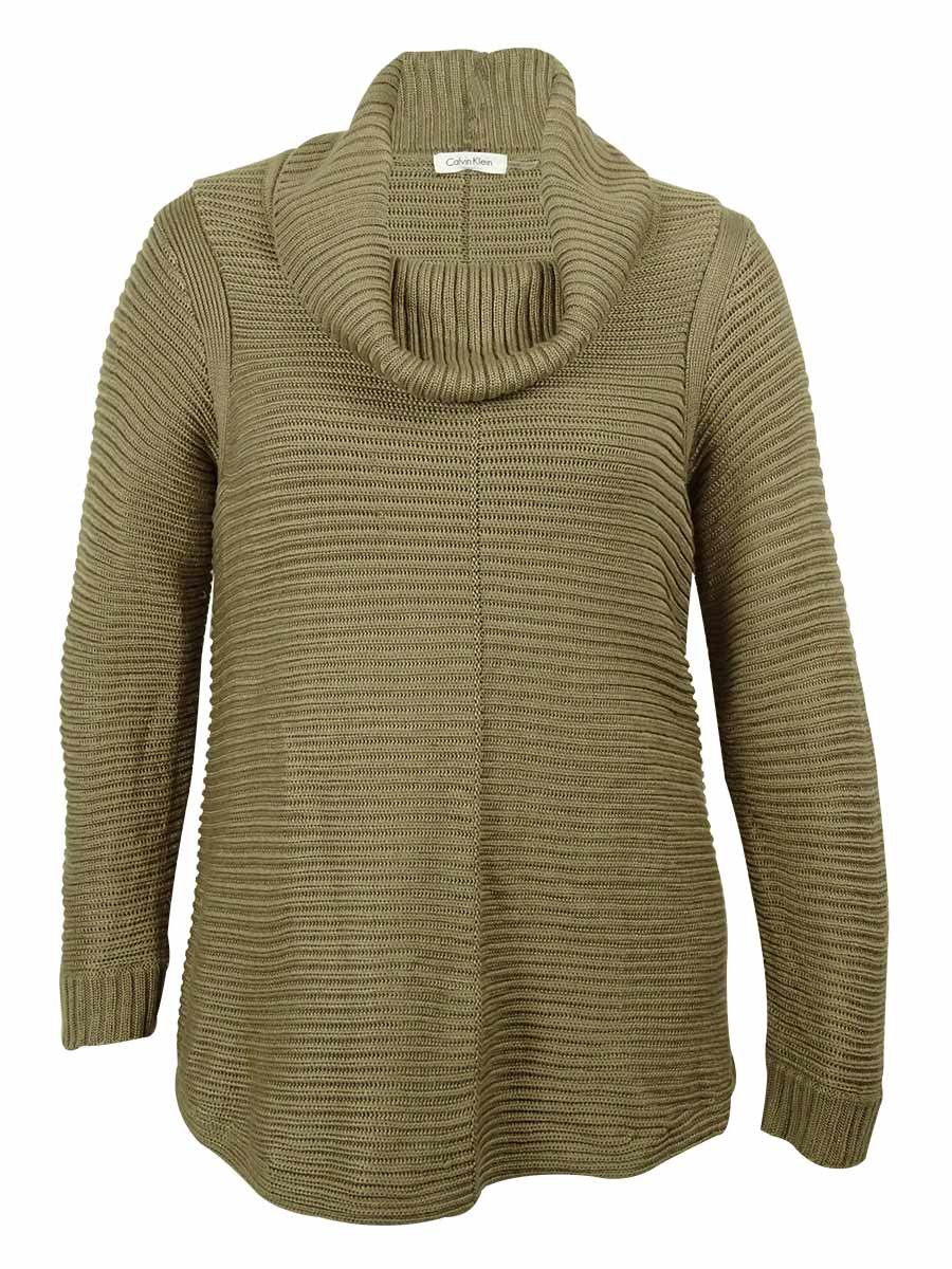 Calvin Klein Women's Cowl-Neck Ribbed Knit Sweater (Heather Frappe, 0X)