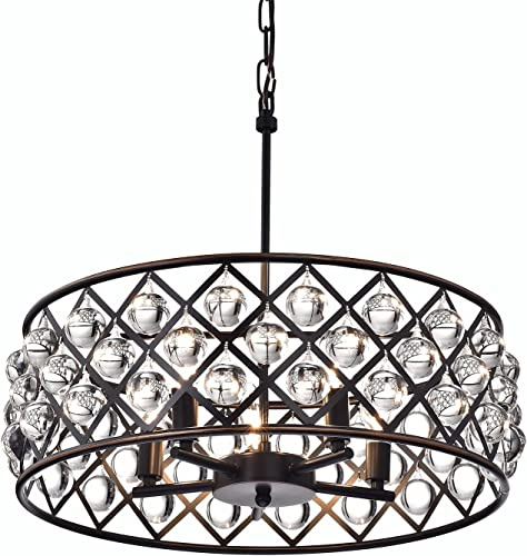 Edvivi Azha 5-Light Oil Rubbed Bronze Drum Pendant Chandelier