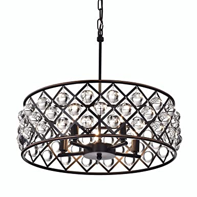 Edvivi Azha 5-Light Oil Rubbed Bronze Drum Pendant Chandelier with Crystal Spheres ORB Modern Farmhouse Lighting