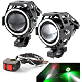 LEDUR LED U7 Motorcycle Headlight DRL with Angel Eyes Ring Lights Driving Running Light Front Spotlight Hi/Lo Strobe Flashing White Light and Switch (2PCS,Green Halo)