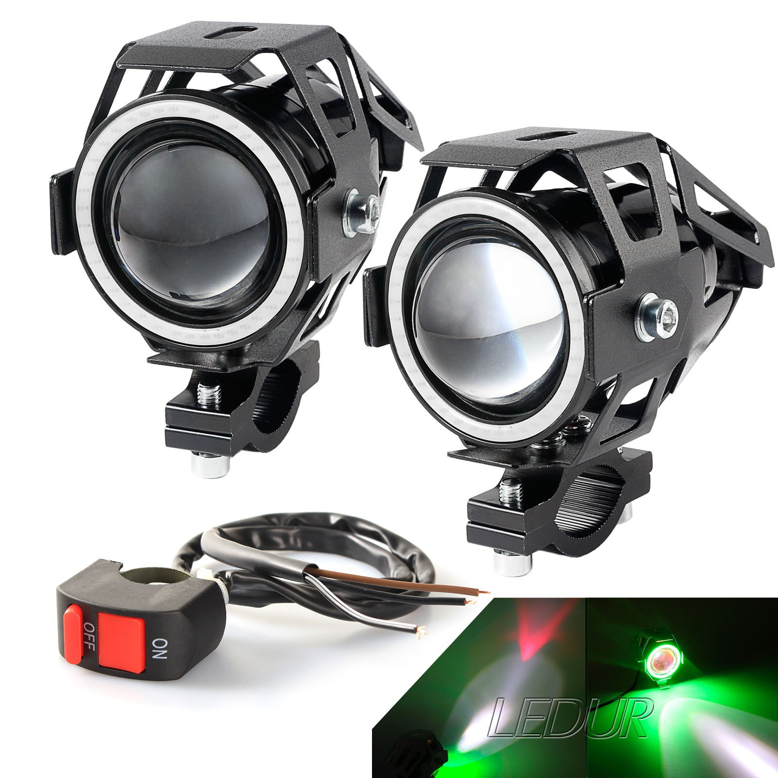 Led Lights For Motorcycle >> Motorcycle Led Lights Headlight Angel Eyes Ring White Light Switch