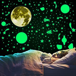 504 Pcs Glow in The Dark Stars Stickers for Ceiling, Moon Planet Rockets Spaceship Luminous Wall Stickers, Shining Space Decals for Home Bedroom Kids Room Decoration (Green)