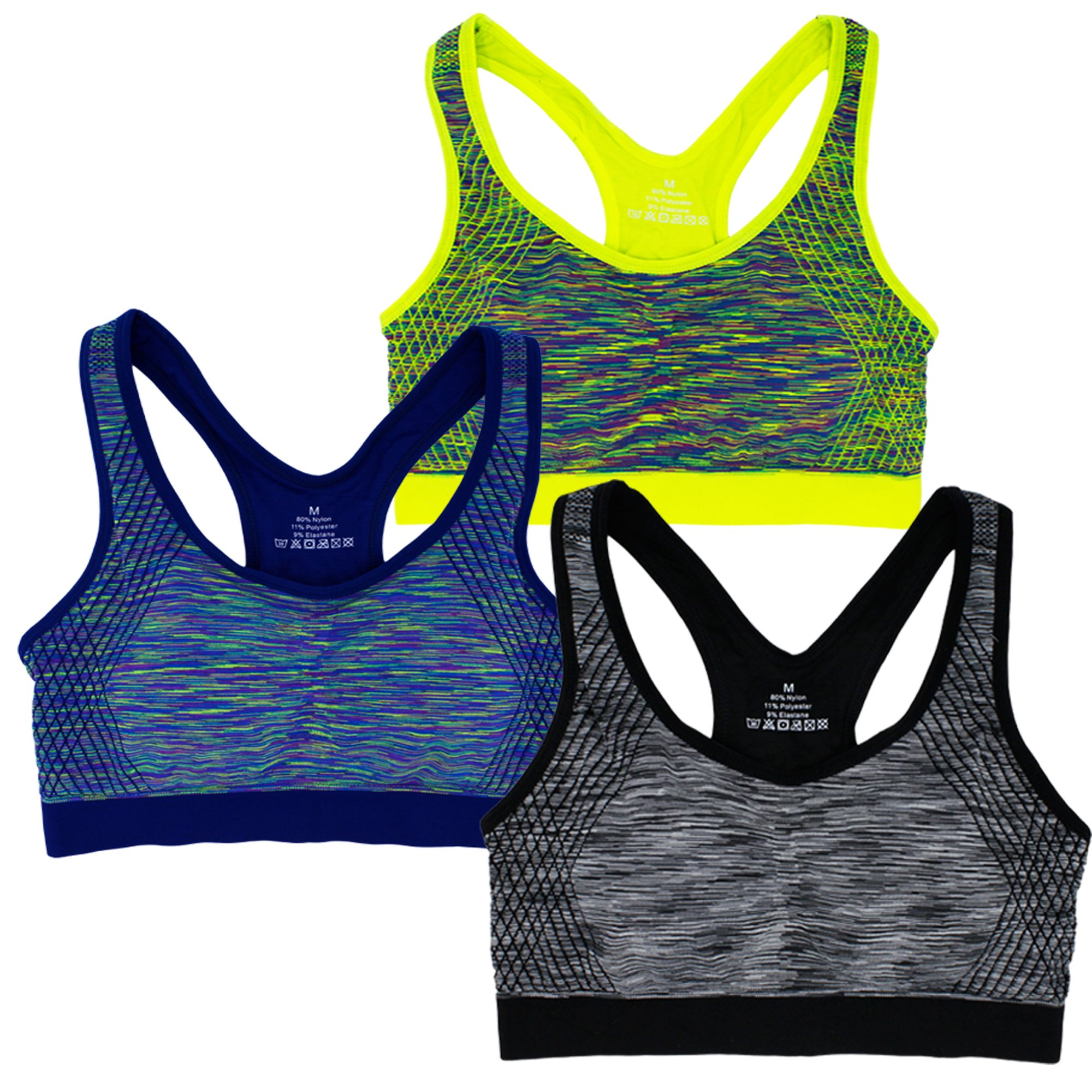 Women's Seamless Racerback Low Impact Sports Bra Wire-Free with Removable Cups (S, 3 Pack B)