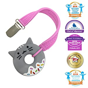 Silli Chews 2 Inch Mini Donut Food Teething Toy Grey Kitty Cat Toy Animal Teether with Pink Pacifier Teether Strap Clip for Girls Popular Shower Gift Gum Soother
