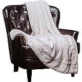 "Chanasya Super Soft Fuzzy Fur Faux Fur Cozy Warm Fluffy Beautiful Color Variation Print Plush Sherpa White Fur Microfiber Throw Blanket (60"" x70"") - White Waivy Fur Pattern"