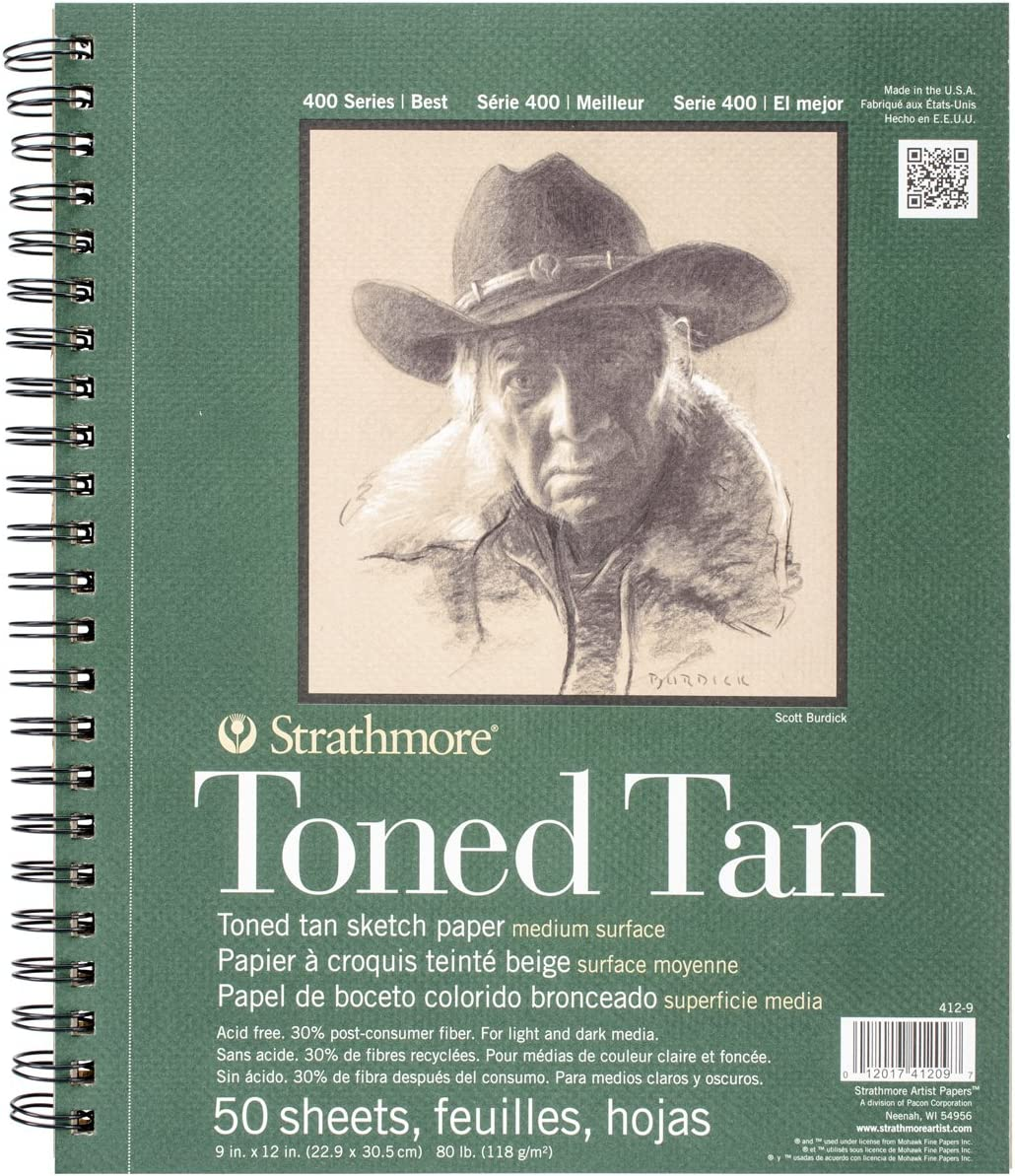"Strathmore Tan Drawing 400 Series Toned Sketch Pad, 9""x12"", 50 Sheets"