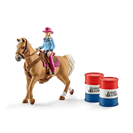 Schleich North America Barrel Racing with Cowgirl Playset
