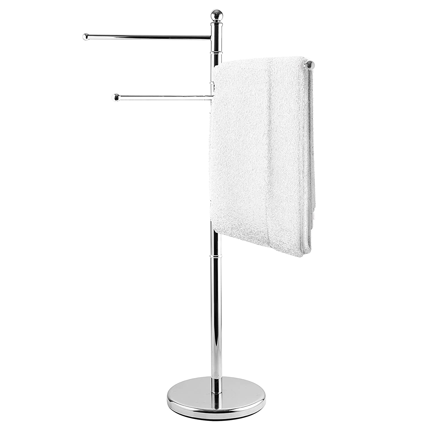 MyGift 40-Inch Freestanding Stainless Steel Bathroom Towel/Kitchen Towel Rack Stand with 3 Swivel Arms