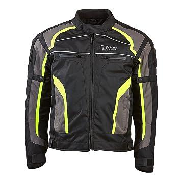 BIKEZONE Chaqueta Moto Connect, Negro/Amarillo Fluorescente, L