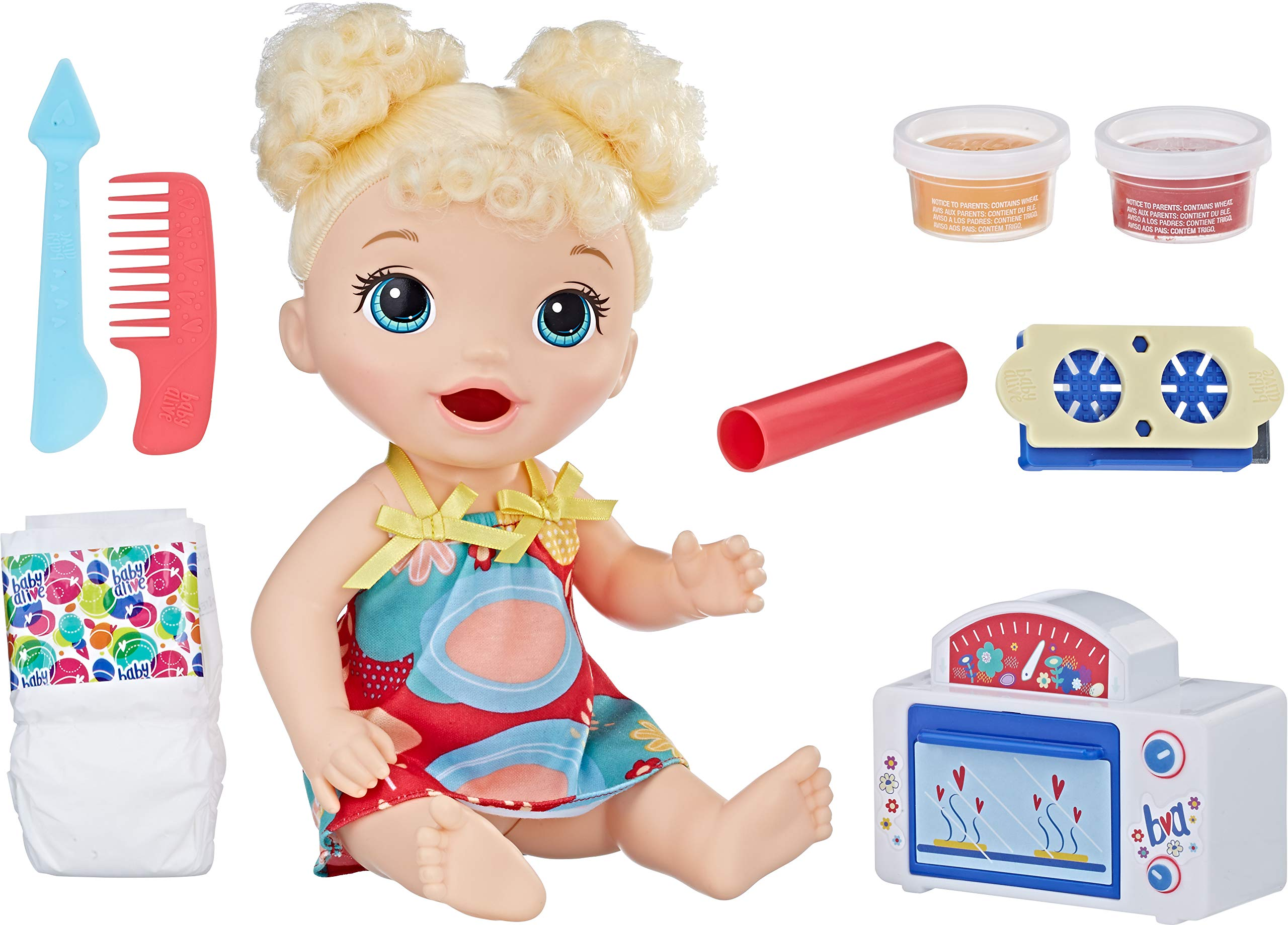 Baby Alive Snackin' Treats Baby, Blonde Curly Hair, for Girls and Boys 3 Years Old and Up (B076QVP3RM) Amazon Price History, Amazon Price Tracker