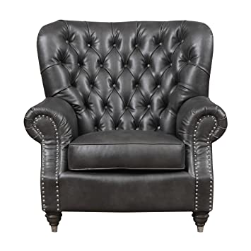 Emerald Home Capone Charcoal Accent Chair With Faux Leather Upholstery,  Nailhead Trim, And Rolled