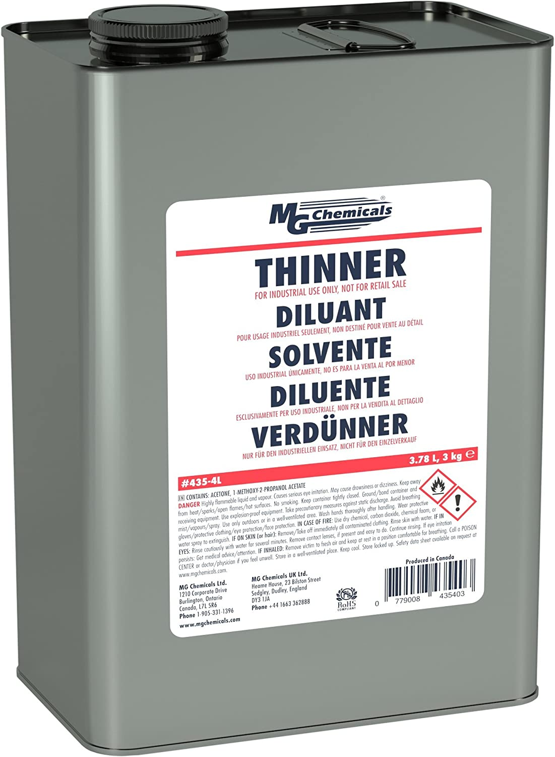 MG Chemicals 4 litres Specialised Coating Thinner 435-4L Circuit Specialists