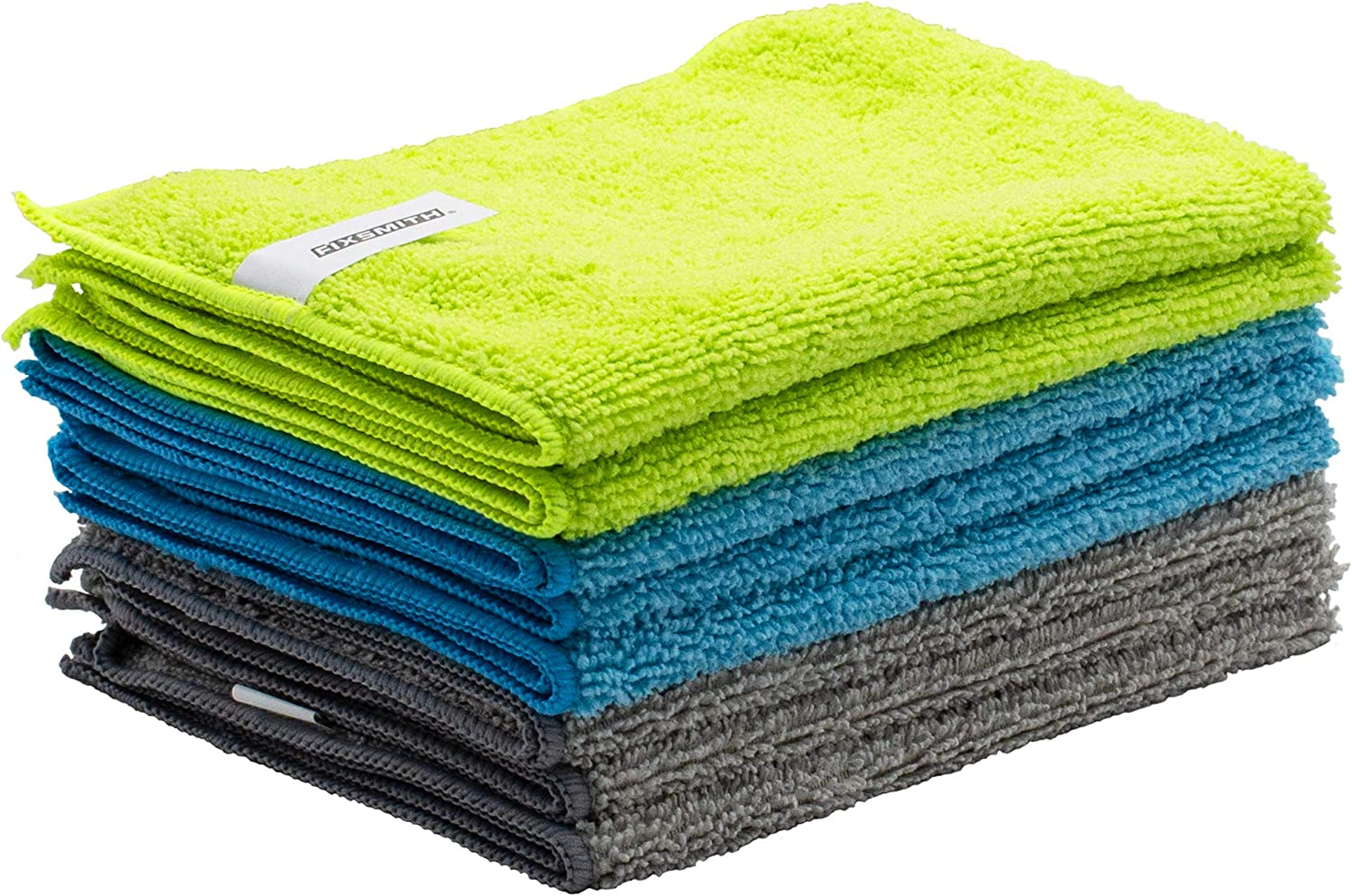 FIXSMITH Microfiber Cleaning Cloth - Pack of 8, All-Purpose Cleaning Towels, Size: 12 x 16 in, Highly Absorbent Cleaning Rags, Lint-Free, Streak-Free Cleaning Cloths - Clean, Dust, Scrub, Polish