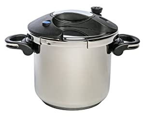 ExcelSteel 598 Professional Pressure Cooker, 7.5 QT, 18/10 Stainless Steel W/ Encapsulated Base, Multiple Safety Designs to Ensure Safe Use
