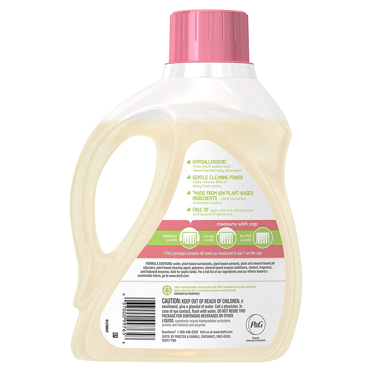 Amazon.com: Dreft Purtouch Liquid Baby Laundry Detergent, Hypoallergenic for Baby, Infant, or Newborn, 75 Ounces (48 Loads): Health & Personal Care