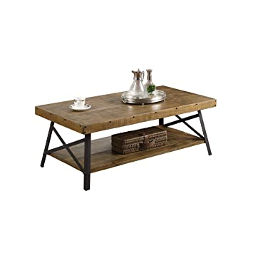 Emerald Home Chandler Rustic Industrial Solid Wood and Steel Coffee Table  with Open Shelf. Amazon com  Emerald Home Chandler Rustic Industrial Solid Wood and
