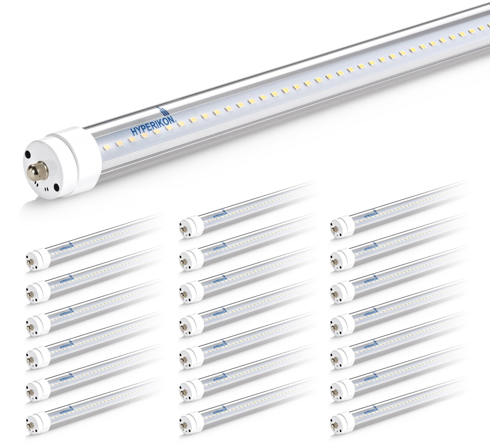 Hyperikon 8FT LED Bulbs, T8 T10 T12 LED Tube Light 36W (75W Equiv.), Ballast Bypass, Shatterproof, Fluorescent Replacement, 3800 Lumens, 5000K, UL, Clear, Workshop, Warehouse, Garage - 20 Pack