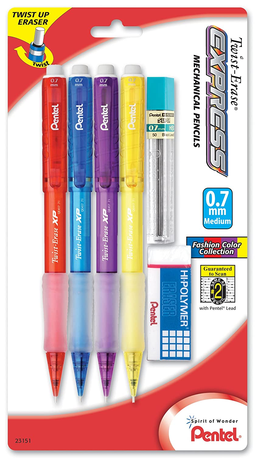 Pack of 4 with Lead and Small Block Eraser 0.7mm Pentel Twist-Erase Express Mechanical Pencil QE417FLZBP4 Assorted Fashion Barrels