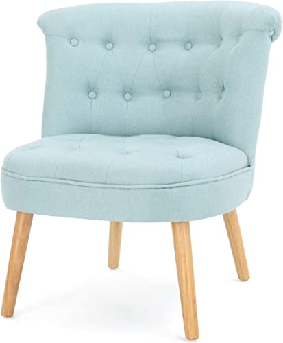 Donna Mid Century Fusion Light Blue Button Tufted Fabric Chair