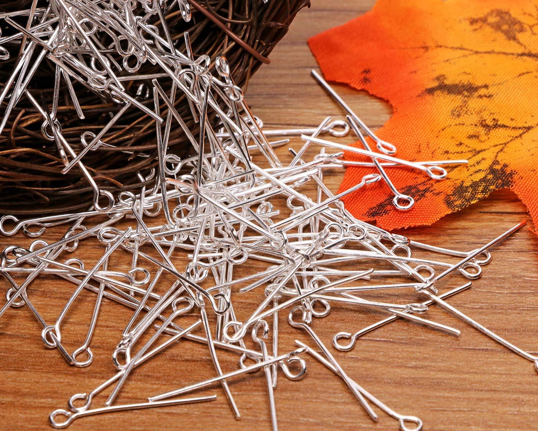 35mm//1.38inch, Silver Shapenty 200PCS Mini Metal Wire Eyepins Beading Small Open Eye Head Pins Needles Bulk for DIY Craft Bead Earring Pendant Necklace Bracelet Jewelry Charm Finding Making