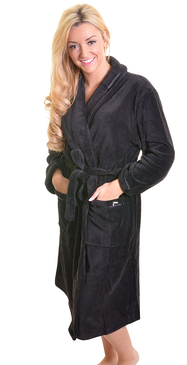 Womens Loungeable Boutique Full Length Fleece Dressing Gown ...