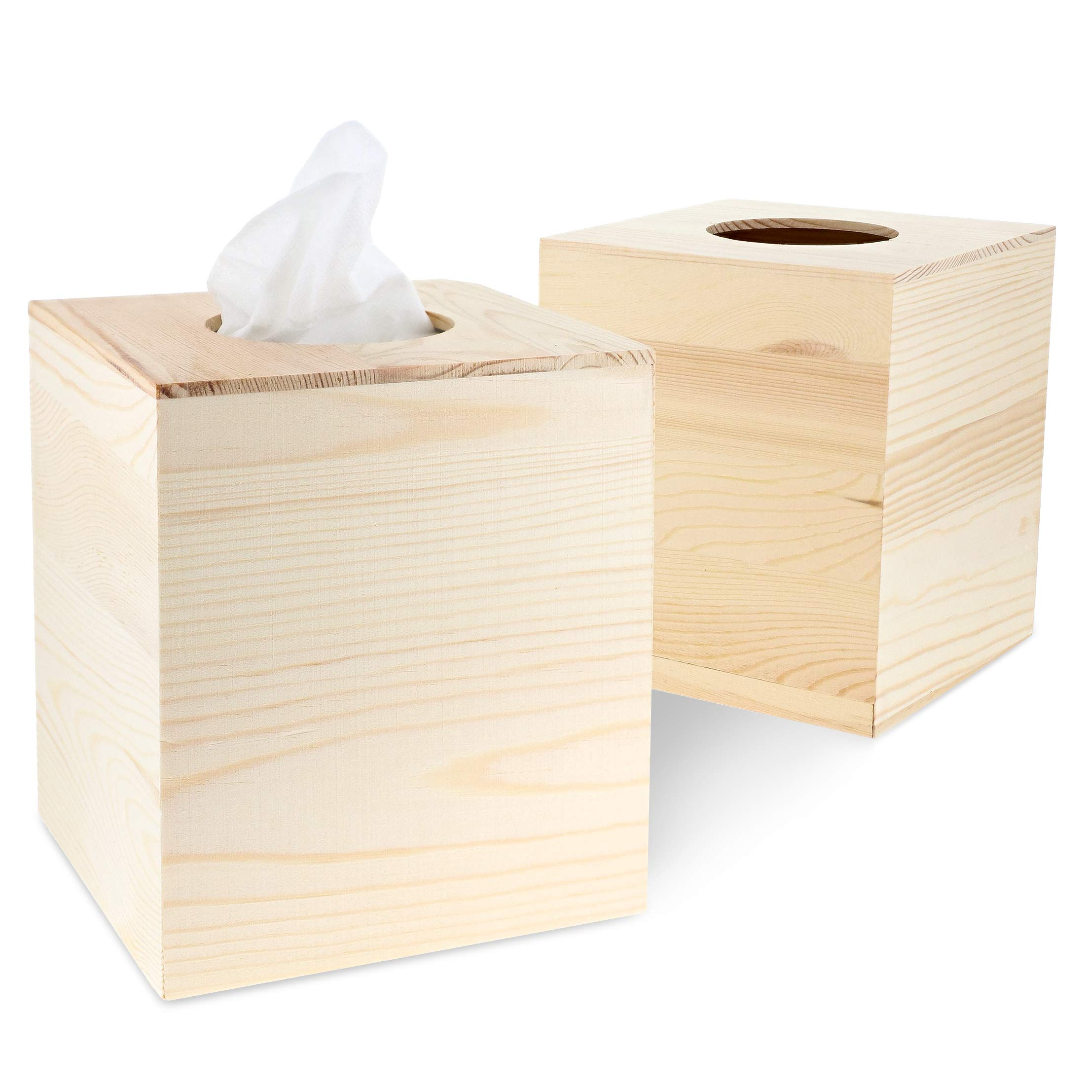 Juvale 2-Pack Unfinished Natural Wood Tissue Box Cover Holder for DIY Wooden Crafts, 5 x 5.5 Inches by Juvale