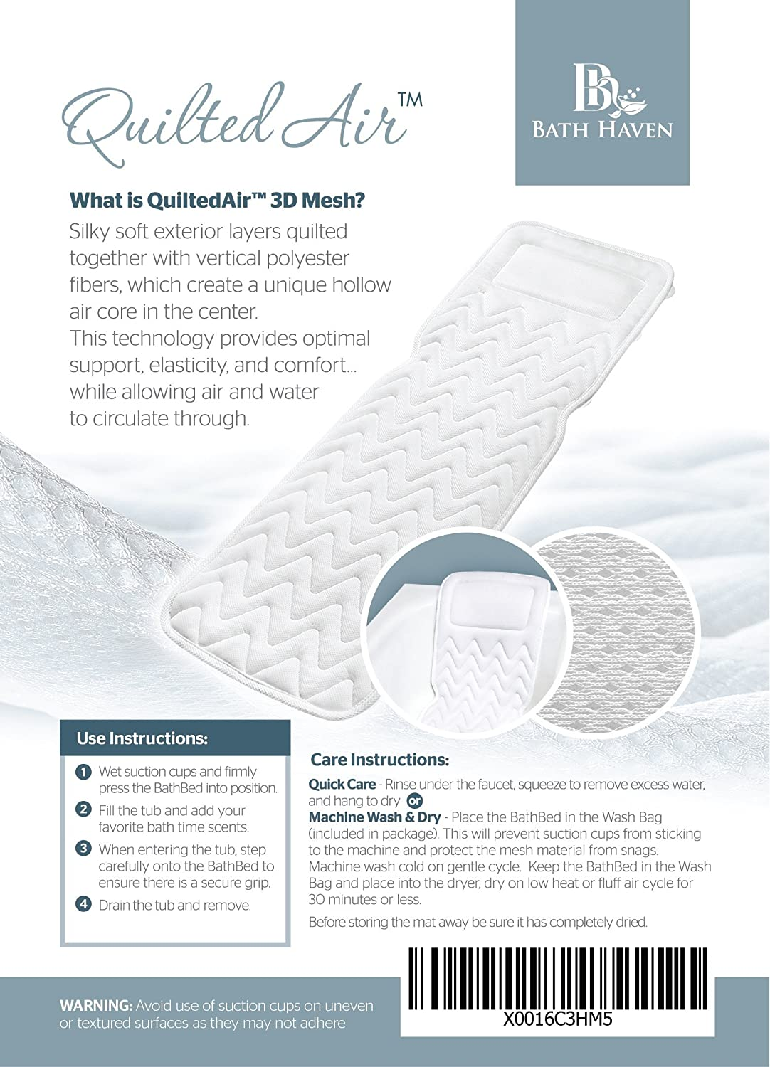Amazon.com: QuiltedAir BathBed Luxury Bath Pillow and Spa Cushion ...