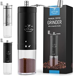 Zulay Manual Coffee Grinder With Foldable Handle - Triangular Coffee Grinder Manual With Adjustable Coarse Settings - Portable & Space-Saving Hand Coffee Grinder For Coffee Beans (Black)