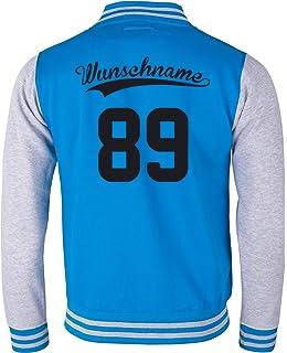 EZYshirt/® Damen Herren Kinder College Jacke Athletic mit Wunschnamen und Wunschnummer Baseball Jacke