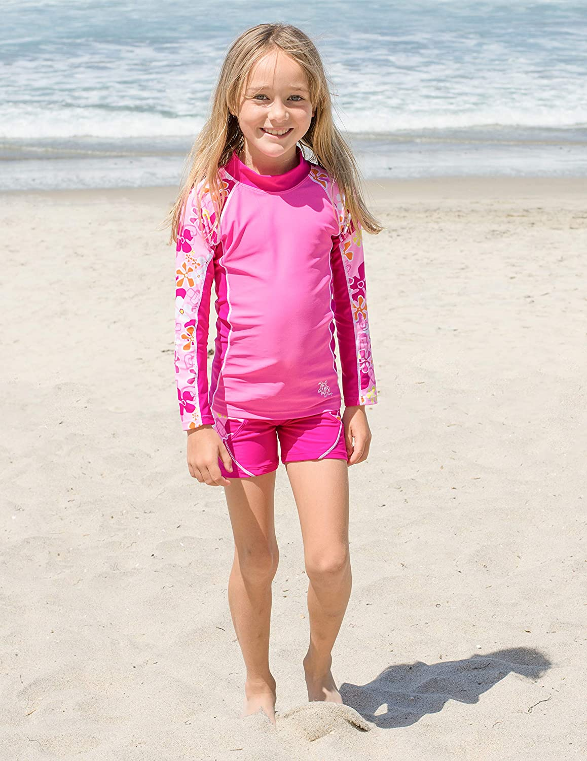 UPF 50 Tuga Girls Two-Piece Long Sleeve Swimsuit Set 2-14 Years Sun Protection