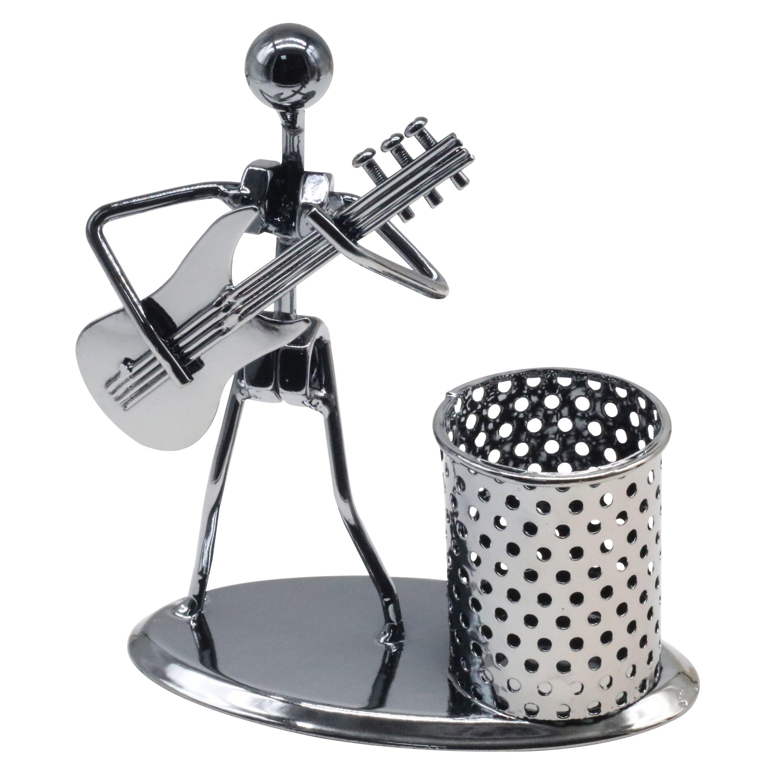 Creative Office Desktop Accessories Musical Stainless Steel Pen Pencil Holder Children Toy Gifts (Guitar)