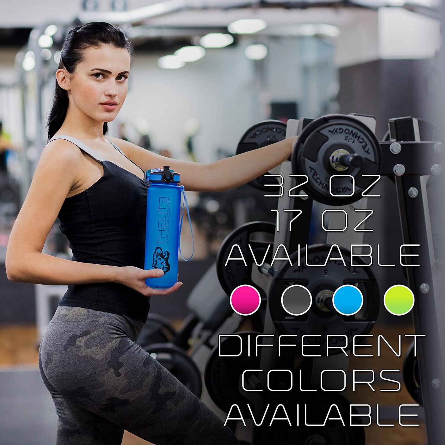 THELITE 17OZ Best Sports Water Bottle US TRITAN Green Blue Gray Pink Top Premium Quality Eco Friendly BPA Free Fast Water Flow One-Click Open Leak Proof Fitness CrossFit Running Yoga Outdoors Camping