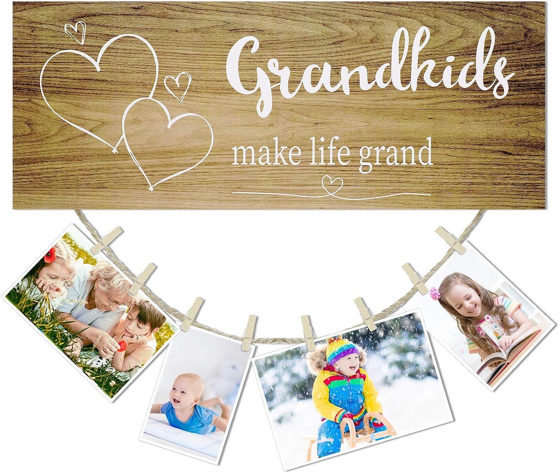 Grandkids Photo Frame Grandkids Make Life Grand Wall Decor Board Rustic Wooden Grandkids Signs DIY Listing Note Clips Crafts for Grandchildren Grandparents Picture Decor